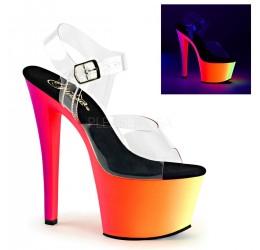 Sexy Sandali fluorescenti multicolor con cinturino, Tacco 17 cm 'Rainbow' Pleaser USA
