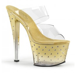 Sexy Sandali oro con brillantini, tacco 18 cm 'stardust' Pleaser USA