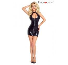 Sexy Abito nero lucido con zip anteriore PR4874 Provocative
