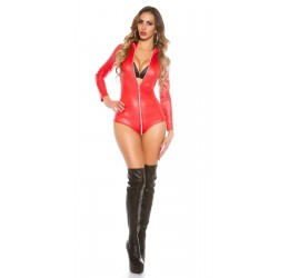 Sexy Body rosso lucido con zip tg. unica 38/42