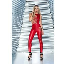 Sexy Tuta rossa effetto bagnato con aperture stringate, Mapalé