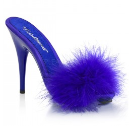 Sexy Sandali blu con piume, tacco 13 cm, Pleaser Usa