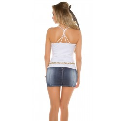 Top bianco con stringhe posteriori tg. unica 38/42