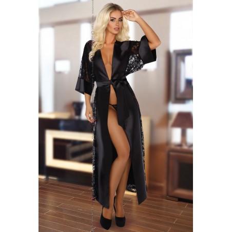 Vestaglia Lunga nera in raso e pizzo con cintura e Perizoma
