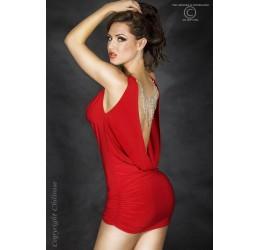 Mini abito rosso arricciato sui fianchi con strass. Schiena scoperta