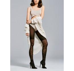 Collant neri coprenti con ricami, 40 denari 'Couture' Fiore Hosiery