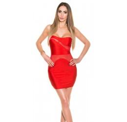 Sexy Tubino rosso con inserti trasparenti taglia unica