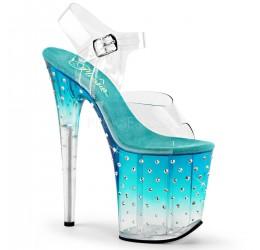 Sexy Sandali azzurri con brillantini, tacco 20 cm 'stardust' Pleaser USA