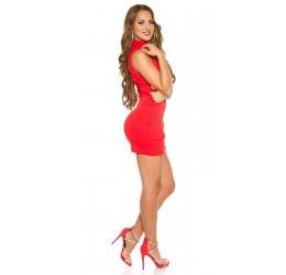 Sexy Mini Abito Rosso in lycra con zip posteriore tg. unica 38/42