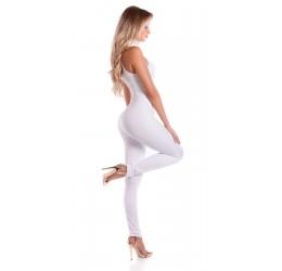 Stupenda Tuta bianca in lycra con zip posteriore