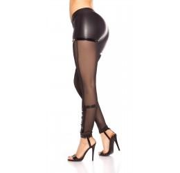 Sexy Leggings neri in tessuto lucido e tulle con borchiette