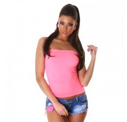 Sexy Top senza spalline rosa neon
