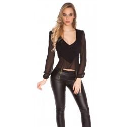 Sexy Blusa nera in chiffon scollata a V