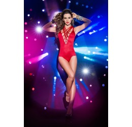 Body rosso con scollatura anteriore e stringhe elastiche lucide by Mapalé