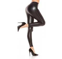 Sexy Leggings neri in tessuto elastico lucido con borchiette