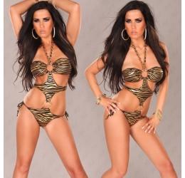 Sexy Monokini costume da bagno donna intero zebrato bronzo