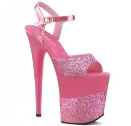 Sexy Sandali rosa con cinturino, tacco 20 cm, Pleaser