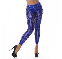 Sexy Leggings blu in tessuto lucido traforato