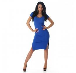 Sexy Abito blu con spacchi e zip laterali