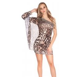 Sexy Mini abito monospalla leopardato con strass