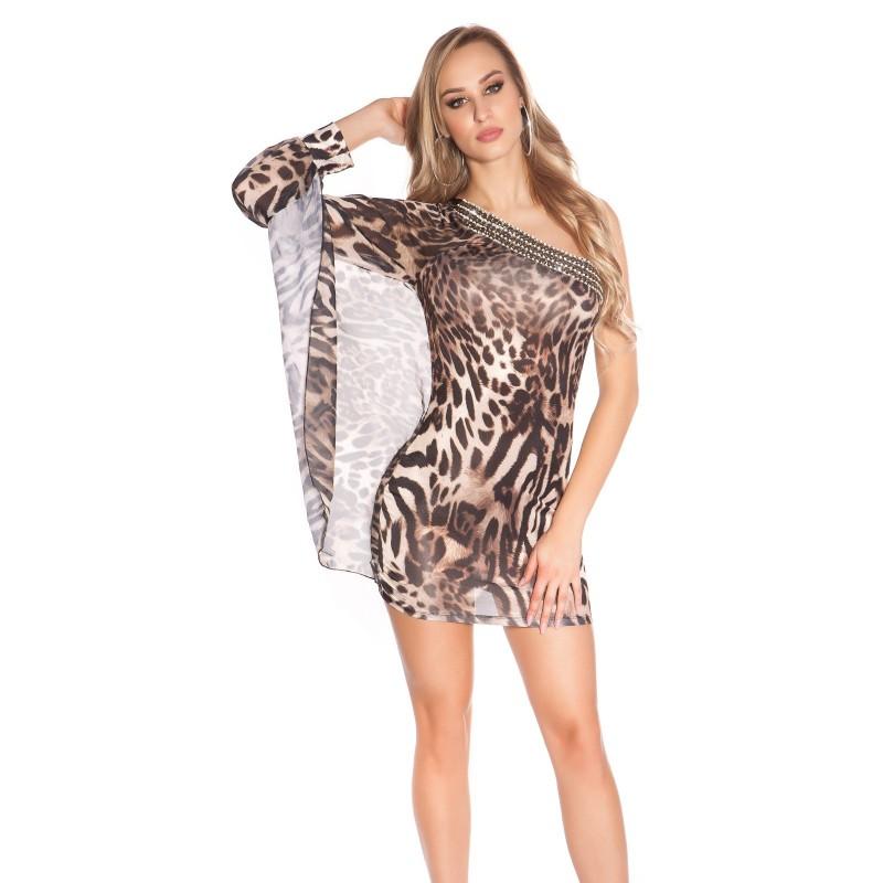 innovative design 8f897 7c3d8 Sexy Mini abito monospalla leopardato con strass | Abiti Monospalla |  Rosanerastore Color Leopardato Size S/M (38/40)