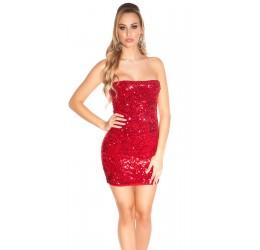 Sexy Tubino rosso con pailettes Taglia unica 38/42