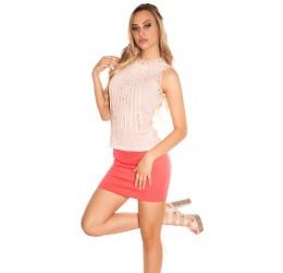 Sexy Top rosa senza maniche in pizzo ricamato