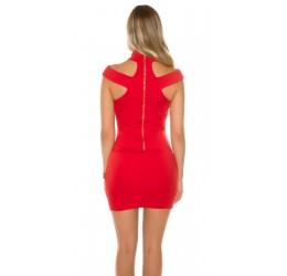 Sexy Mini abito rosso con zip posteriore