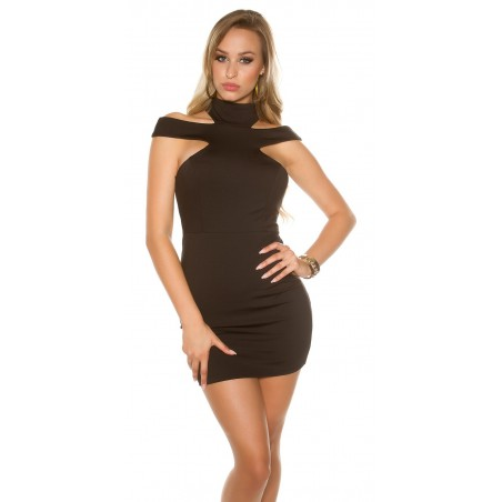 Sexy Mini abito nero con zip posteriore
