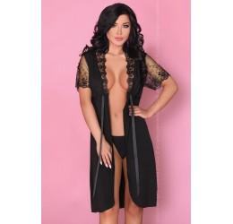 Sexy Vestaglia nera con inserti in pizzo 'Keira' LivCo