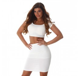 Sexy completo bianco a costine, top e gonna