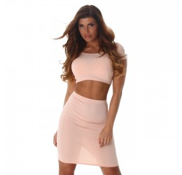 Sexy completo rosa a costine, top e gonna
