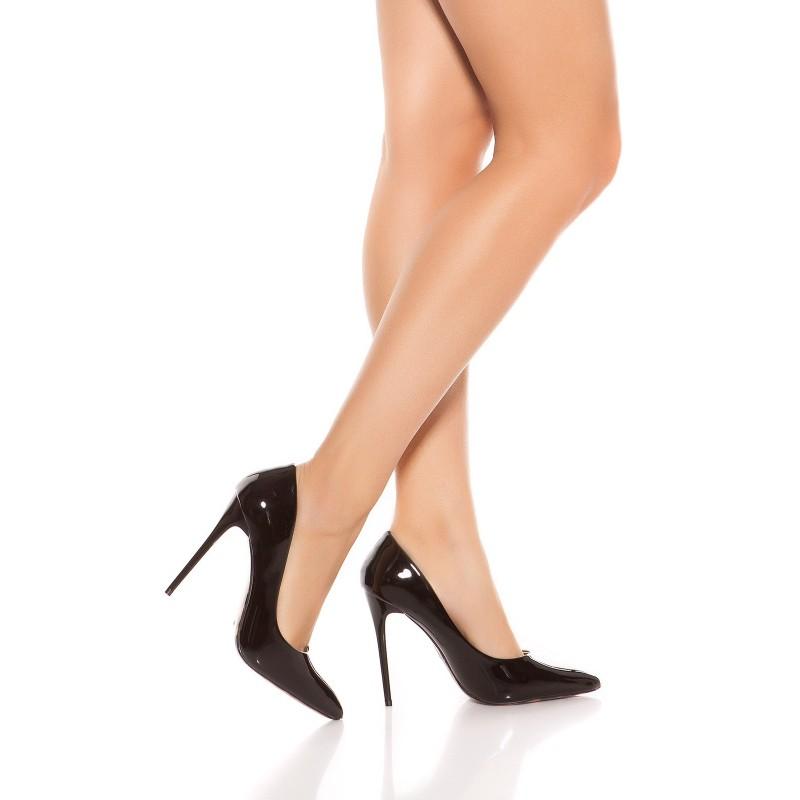 Sexy Scarpe nere lucide décolleté, tacco cm.10