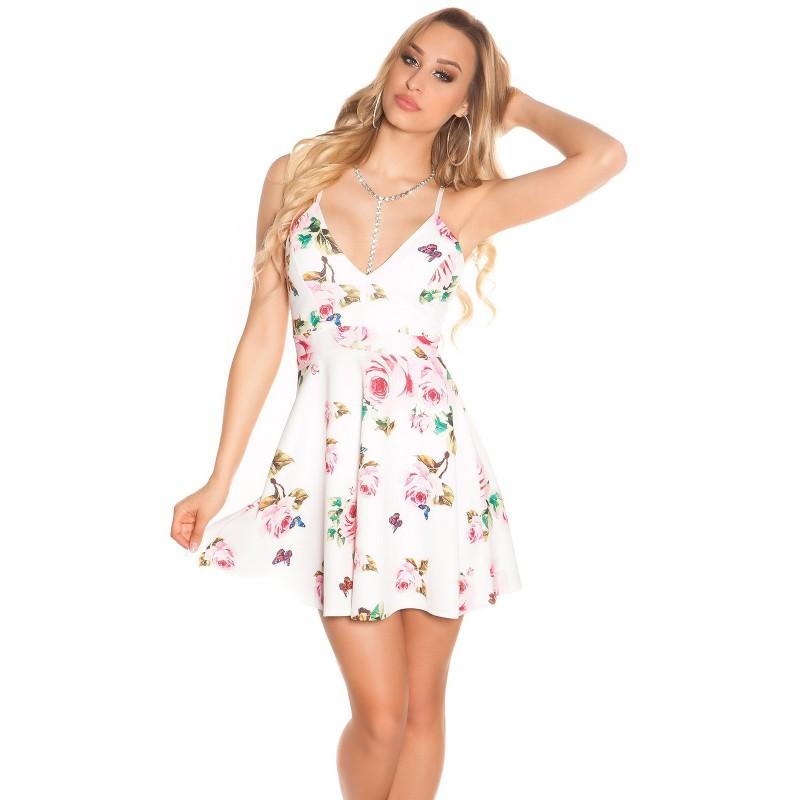 Mini abito bianco in fantasia floreale con inserto in pizzo