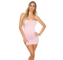 Sexy top lungo tubino rosa con strass taglia unica 40/44