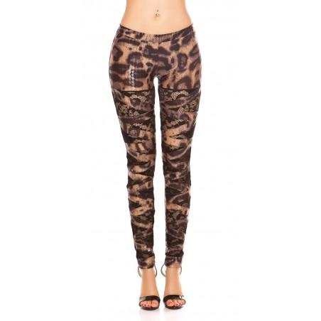 Sexy leggings leopardati lucidi con inserti in pizzo nero