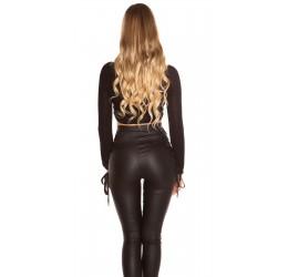 Sexy maglietta corta nera incrociata sul décolleté