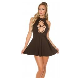 Mini abito nero senza maniche con scollatura stringata