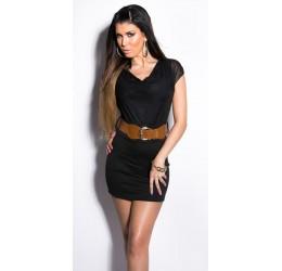 Mini abito nero con scollatura drappeggiata e cintura
