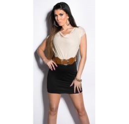 Mini abito nero/beige con scollatura drappeggiata e cintura