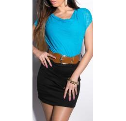 Mini abito nero/turchese con scollatura drappeggiata e cintura