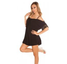 Sexy Tunica/mini abito nera con inserti ricamati tg. 40/44