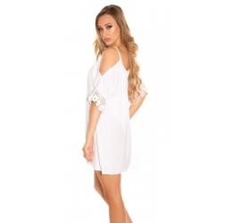 Sexy Tunica/mini abito bianca con inserti ricamati tg. 40/44
