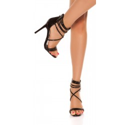 Sandali neri lucidi stringati, tacco 11 cm
