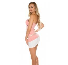 Sexy Top rosa con pailettes e strass tg. 40/44