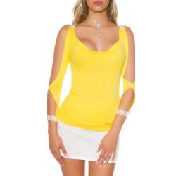 Sexy Maglietta gialla decorata con pietre e strass