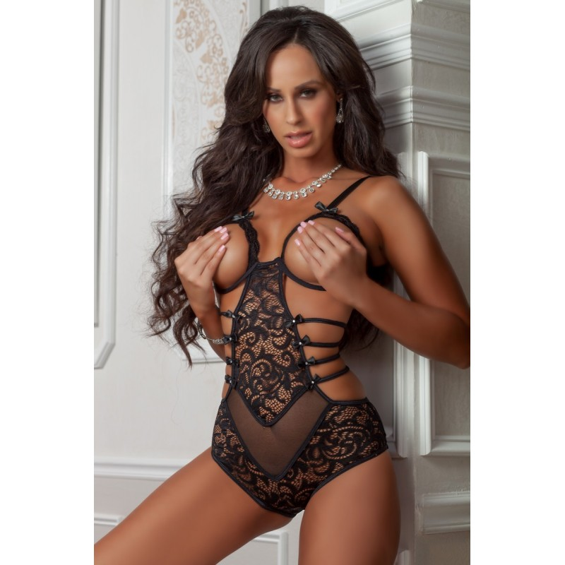 Sexy Body nero in tulle e pizzo con coppe aperte b1801 Gworld