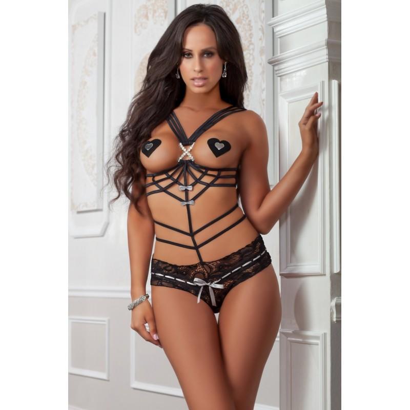 Sexy Body nero in pizzo e stringhe con copricapezzoli x1815 Gworld