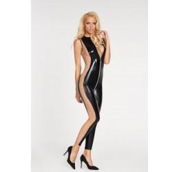 Sexy Tuta nera lucida con inserti color carne 7heaven
