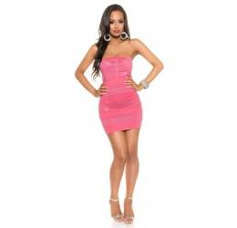 Sexy Tubino rosa a costine opache/glitter Taglia unica 38/42